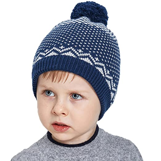 0e9e5c80905 URSFUR Boys Winter Knit Beanie Hat Kids Warm Bobble Cap with Woollen Ball  Pom Navy Blue