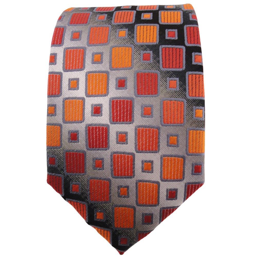 naranja gris plata negro a cuadros TigerTie Corbata