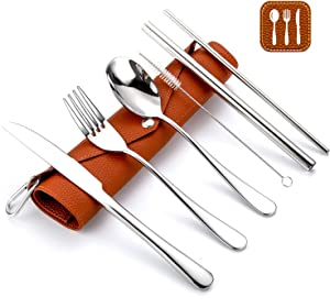 Portable Flatware Set with Bag, Travel Camping Cutlery Set with PU Leather Roll Bag, Utensils Silverware Organizer for Travel Camping Office or School Lunch