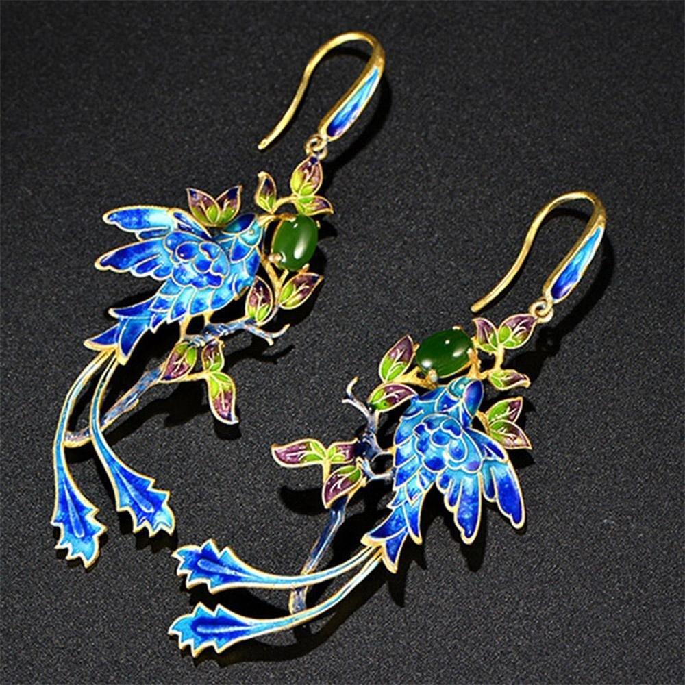 Jade Angel Gold Plated Stering Silver Drop Earrings with Cloisonne Enamel Phoenix Style Fashion Jewelry