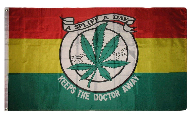 1000 Flags A Spliff A Day Garder Le Doctor Away 5/x3 Drapeau