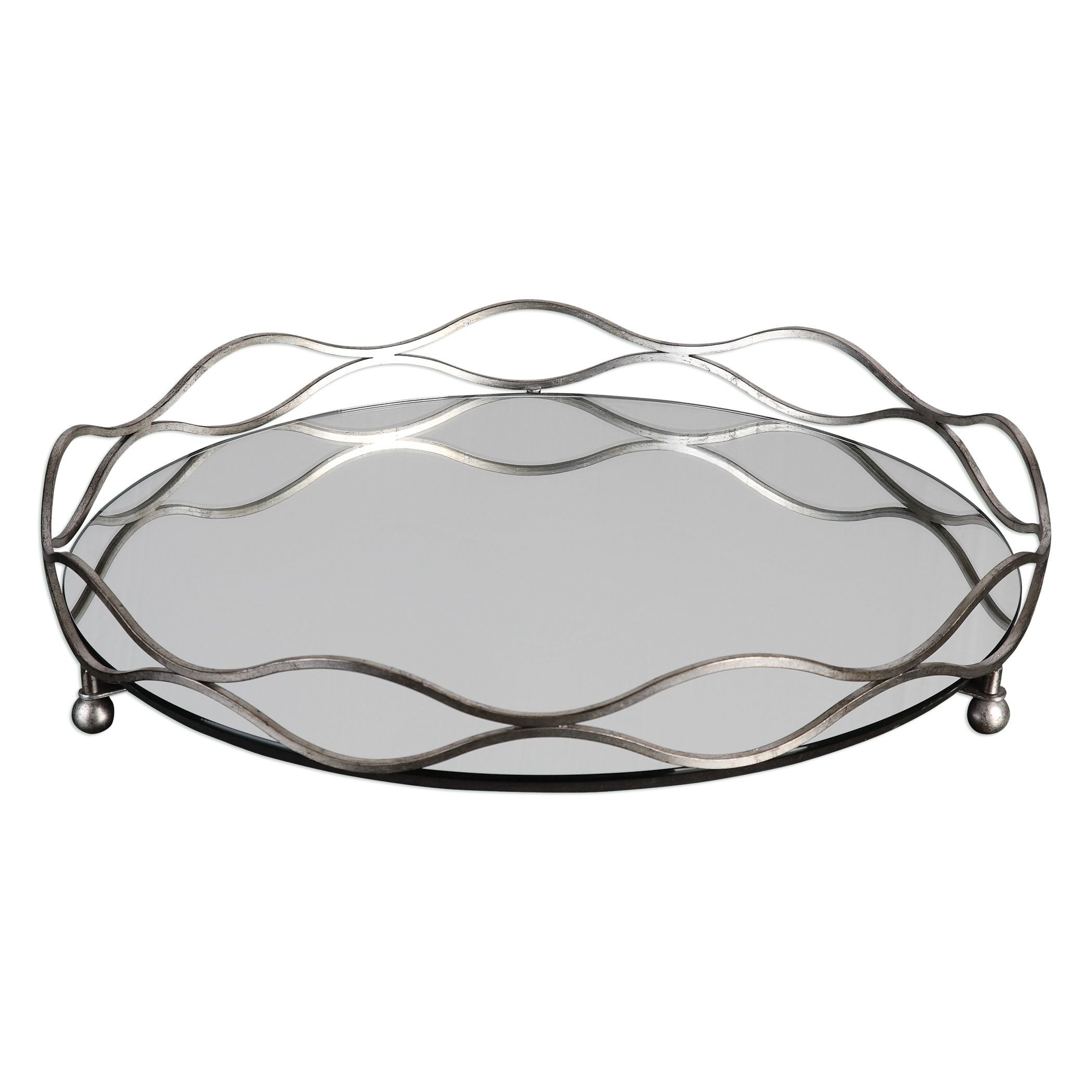 Elegant Round Mirrored Silver Centerpiece Tray   Bar Vanity Waves Open Metal by My Swanky Home (Image #1)