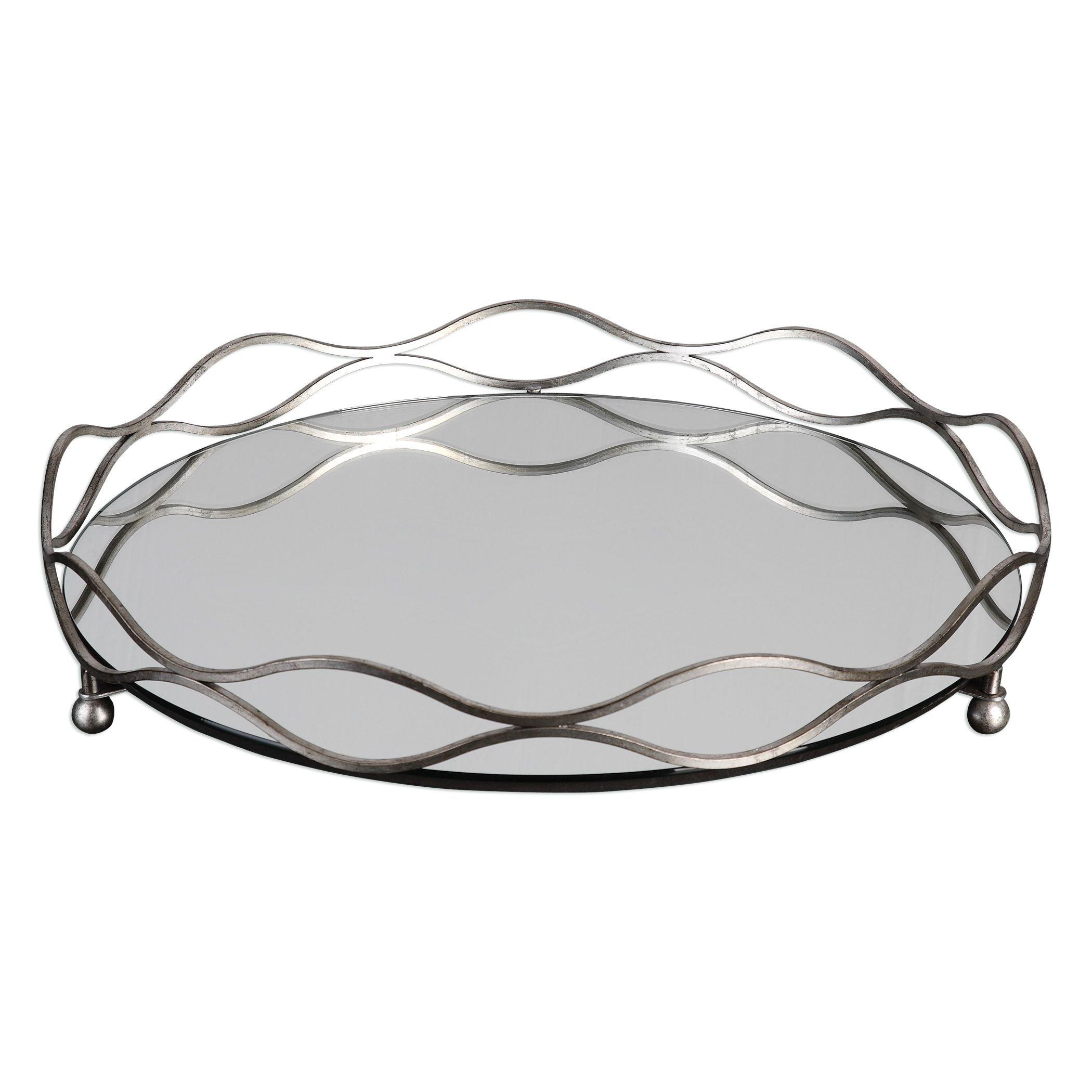 Elegant Round Mirrored Silver Centerpiece Tray | Bar Vanity Waves Open Metal