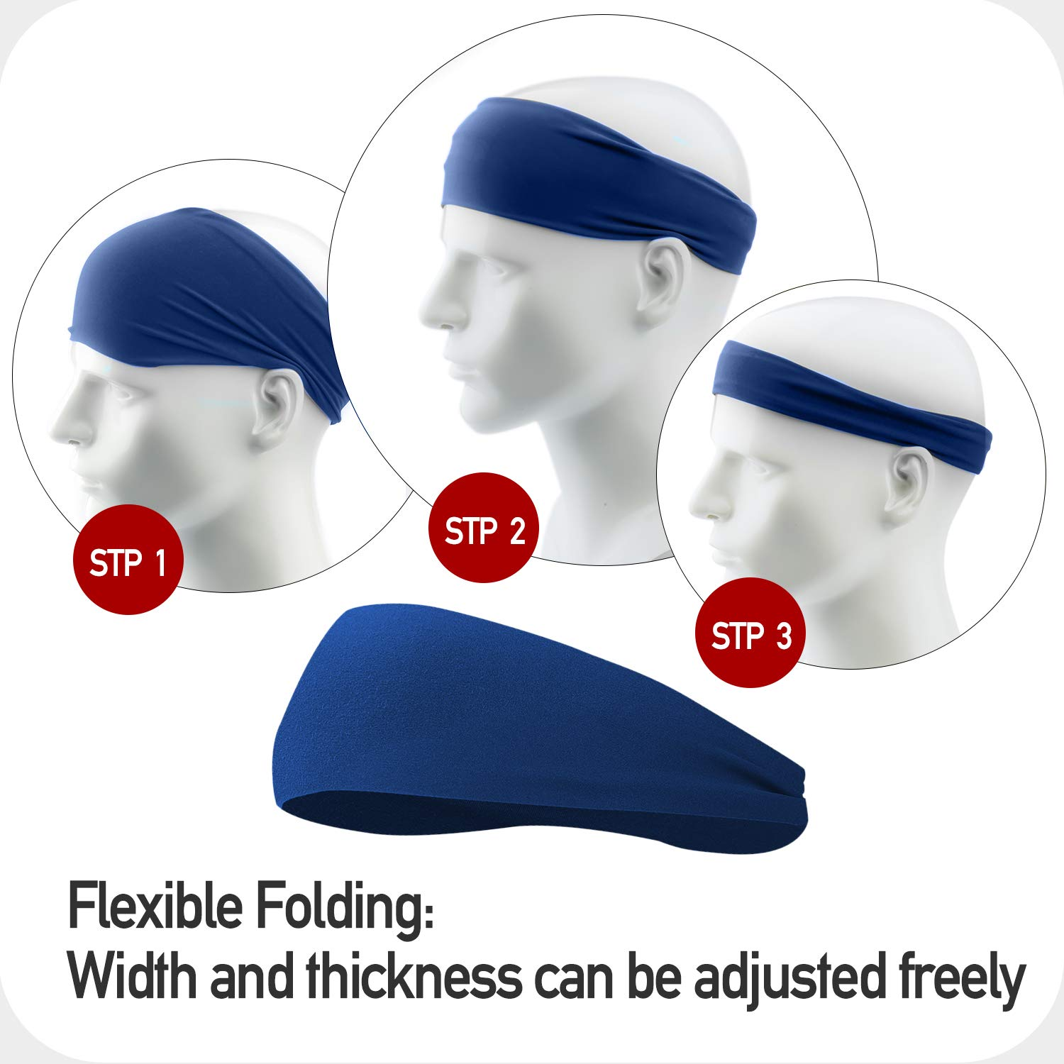 JOEYOUNG Sport Headbands /& Sweatbands for Men and Women Cycling 4 Pack Workout Headbands Hairbands for Yoga Running Crossfit Breathable /& Non-Slip /& Performance Stretch Basketball