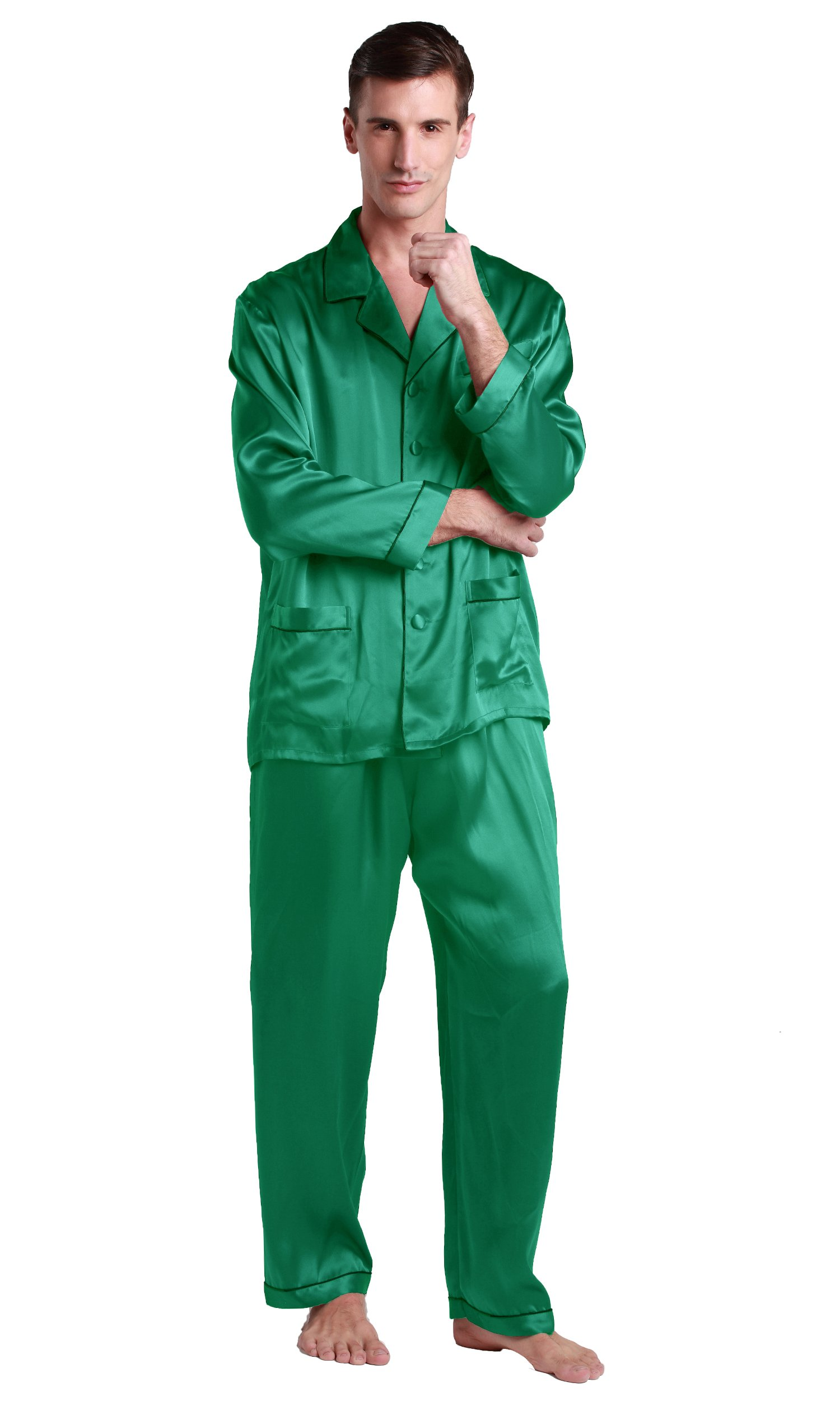 LilySilk Silk Pajamas Set for Men Summer 22 momme Sleep Loungewear Luxury Soft Sleepwear Green Jade X-Small