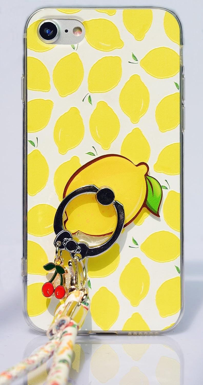LINFAサマーフルーツレモンスイカストロベリーフォンケースfor iPhone 6 / 6S 4.7インチケース+ペンダントリングホルダースタンドブラケットソフトTPU +バックケース付きストラップ(iPhone 6 / 6S 4.7インチ、イエローレモン)   B073S52NST