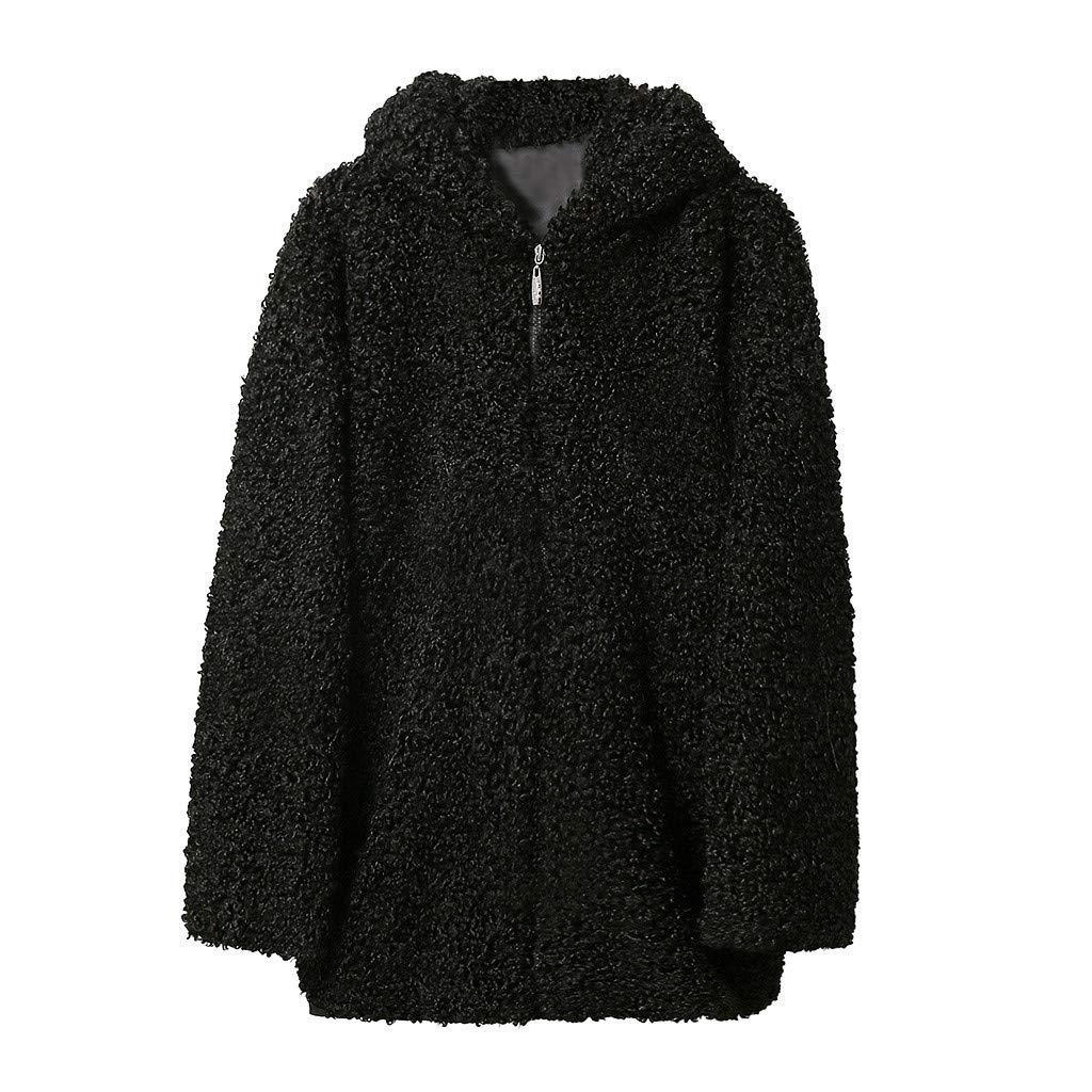 IEason Women Coat Autumn Winter Hooded Lamb Wool Loose Thin Outwear Black by IEason Women Coat