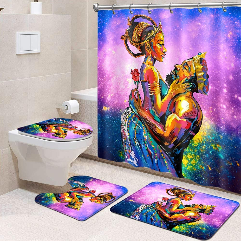 Romantic African American Lovers Couple Shower Curtain for Bathroom Decor, Waterproof & Durable Shower Curtain and Non-Slip Rug, King and Queen Lovers, 4PCS/Set(Violet)