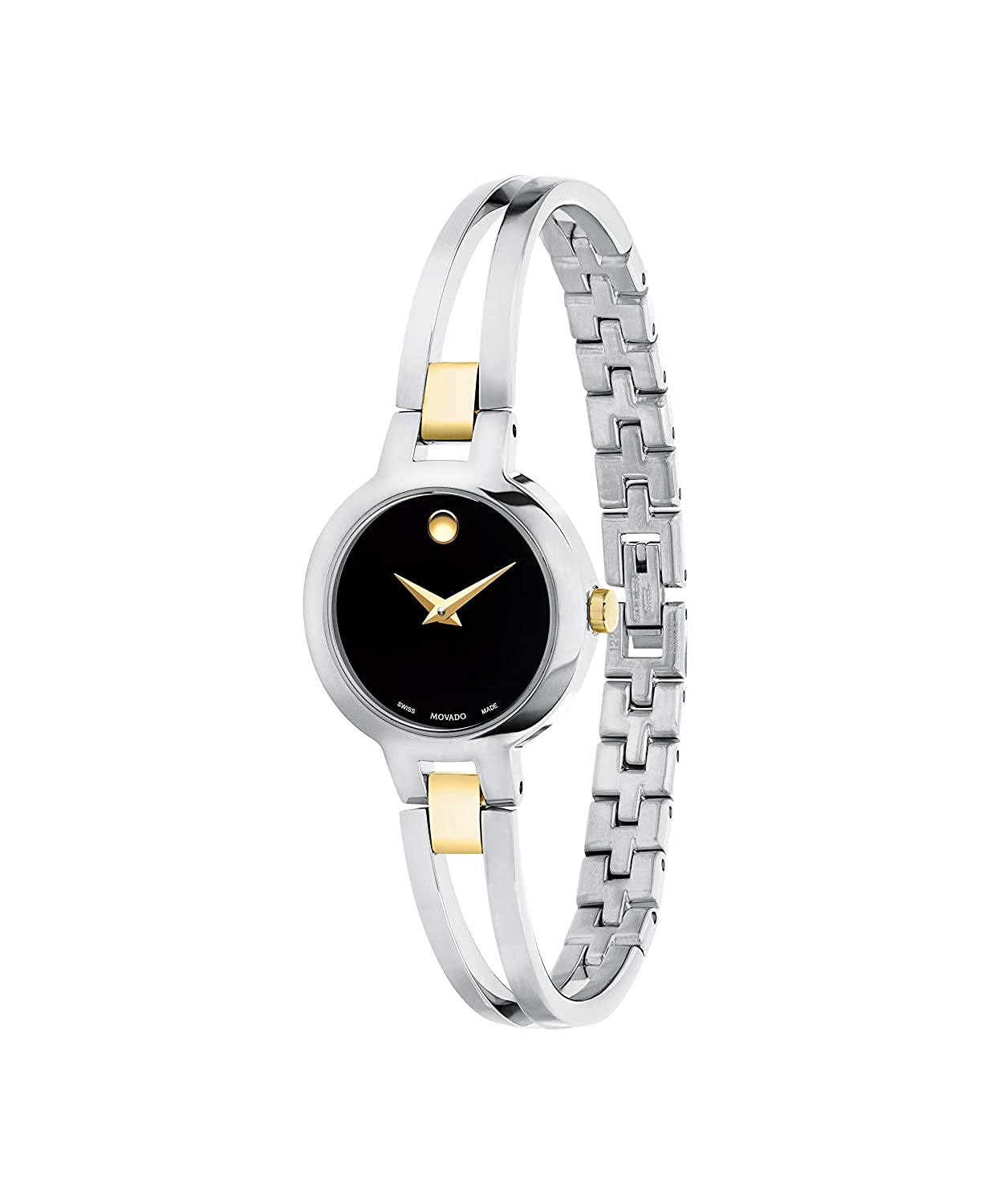 Movado Amorosa, Stainless Steel Yellow PVD Case, Black Dial, Stainless Steel Yellow PVD Bangle, Women, 0607184