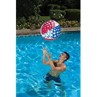 Poolmaster American Stars Inflatable Swimming Pool and Beach Ball (24 Inch), Red, White, Blue