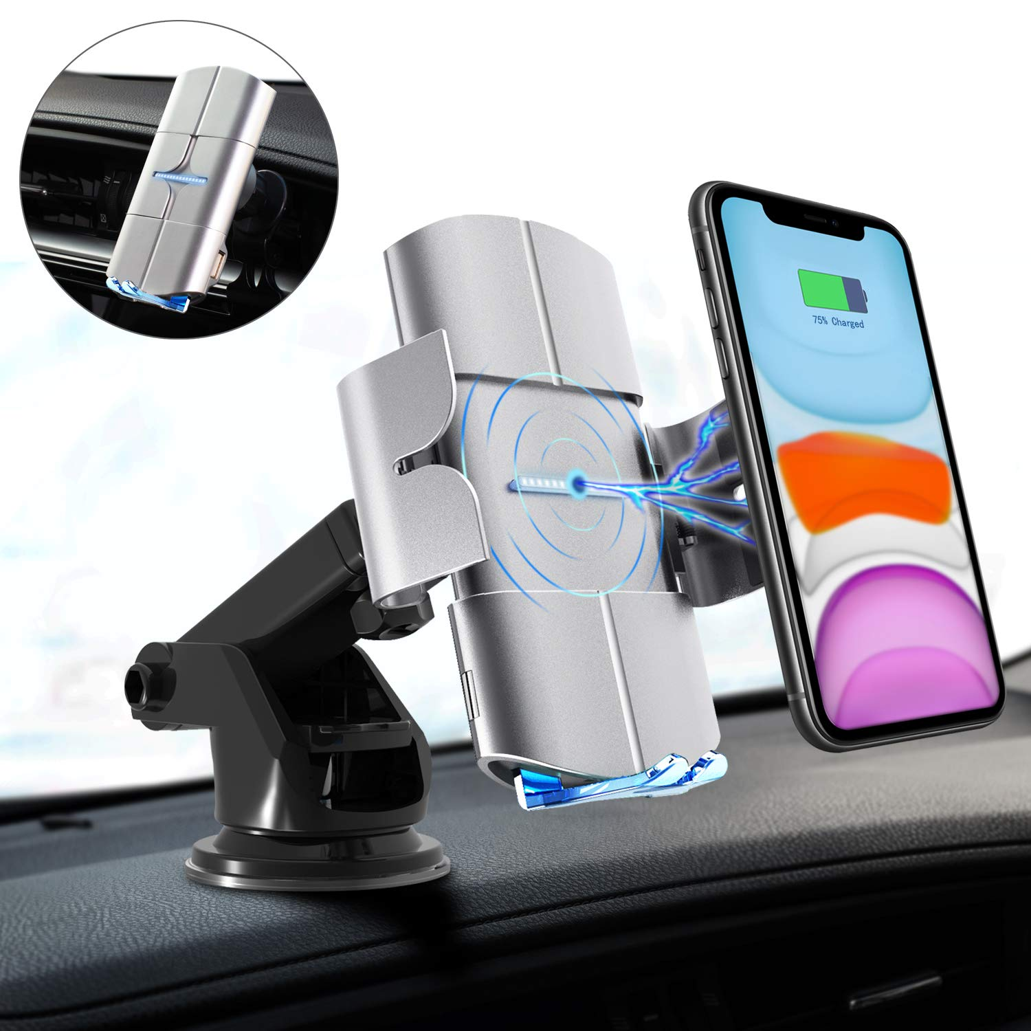 Wireless and Non-Wireless Phones- Black Auto Clamp Car Mount Voice Prompt 10W Qi Fast Charging Holder Compatible with iPhone Samsung Windshield Dashboard Air Vent Blinkbrione Wireless Car Charger