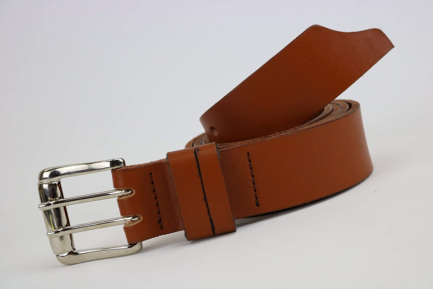 Mens tan leather belt with