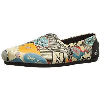 Skechers BOBS Women's Plush-Vintage Cartoon Flat, Natural/Multi, 8 M US | Flats