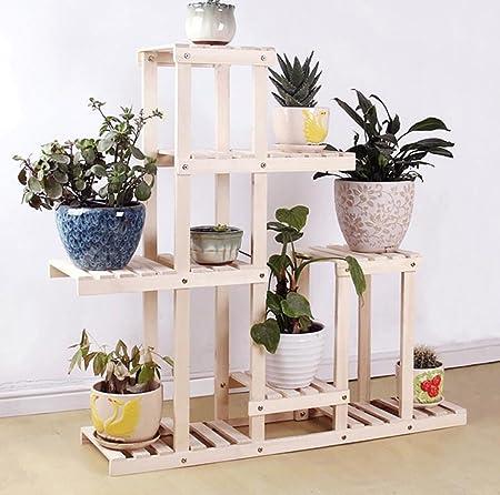 estantes para plantas / estanteria jardin Estante de flores de madera maciza Balcón Piso Suculento Estante de