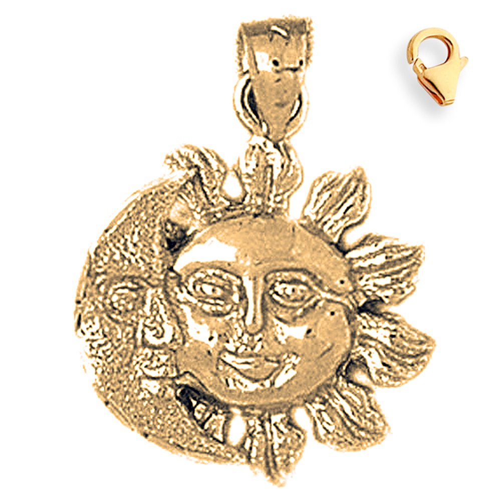 22mm Silver Yellow Plated Sun And Moon Charm