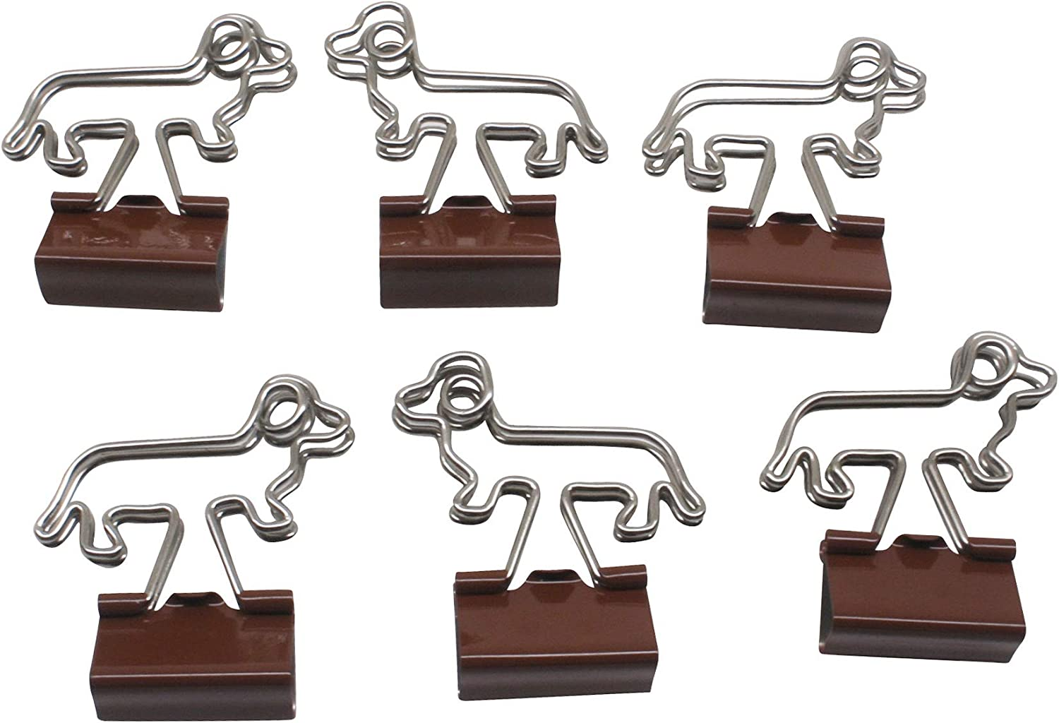 Butler in the Home Dachshund Shaped Binder Clips 25 Count Bag Small 23mm Office Gift (Brown)