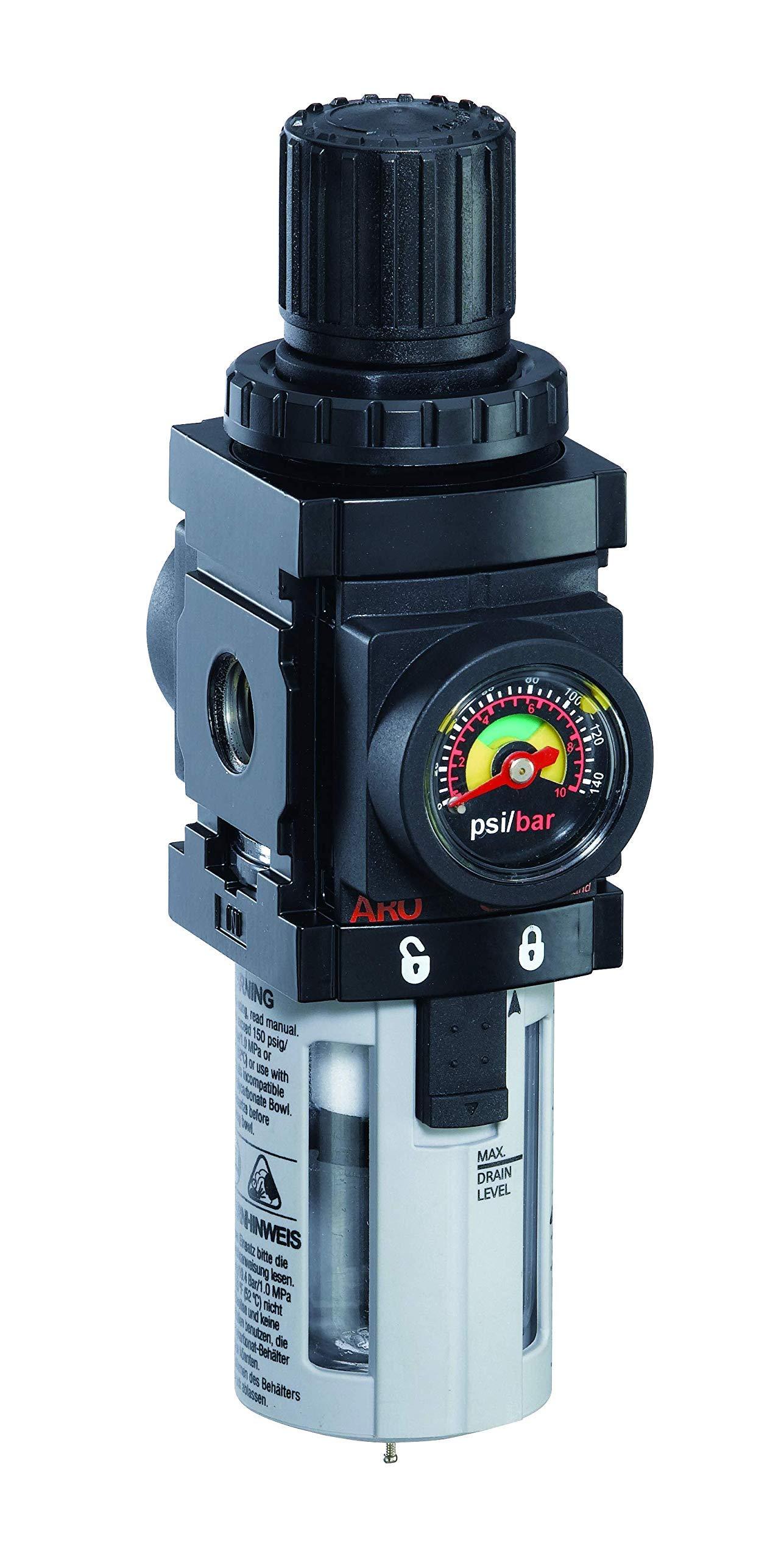 ARO P39344-600-VS Air Filter-Regulator Piggyback, 1/2'' NPT - 150 psi Max Inlet (Renewed) by Ingersoll Rand