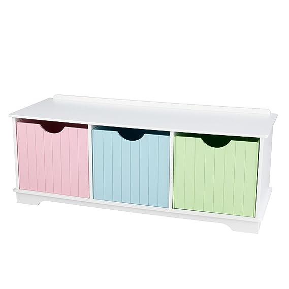 KidKraft- Banco de almacenamiento de madera blanco para niños con 3 cajones / contenedores / cestas de almacenamiento, muebles de dormitorio para ...
