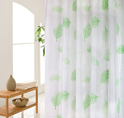 Wimaha Leaves Plastic PEVA Shower Curtain Liner Clear Mildew Resistant Waterproof Bathroom Decorative Natural