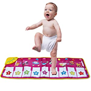 Kingseye Musical Mat, Baby Early Education Music Piano Keyboard Carpet Animal Blanket Touch Play Safety Learn Singing Funny Toy for Kids (Purple)