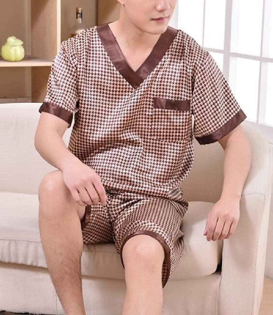 YYG Mens Sleepwear Satin V Neck Comfy Short Sleeve Pajama Sets