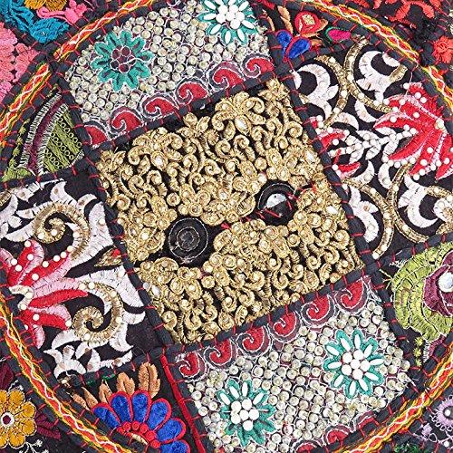 Eyes of India 17 X 12 Round Black Pouf Pouffe Ottoman Cover Floor Seating Bohemian Boho Indian