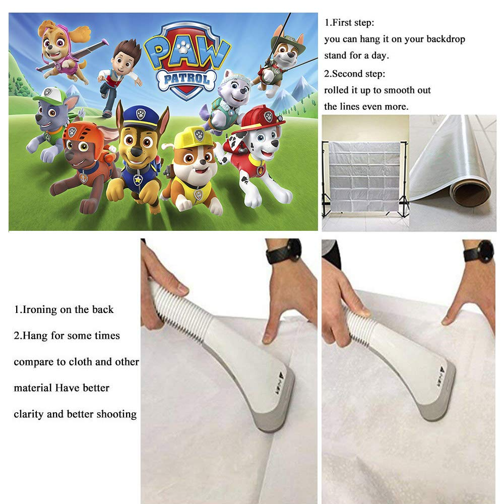 MMY 7x5ft Cartoon Dogs Paw Patrol Photography Backdrop Baby Shower Kids Birthday Party Background Photobooth Props Vinyl Banner Supplies by Fanghui (Image #4)