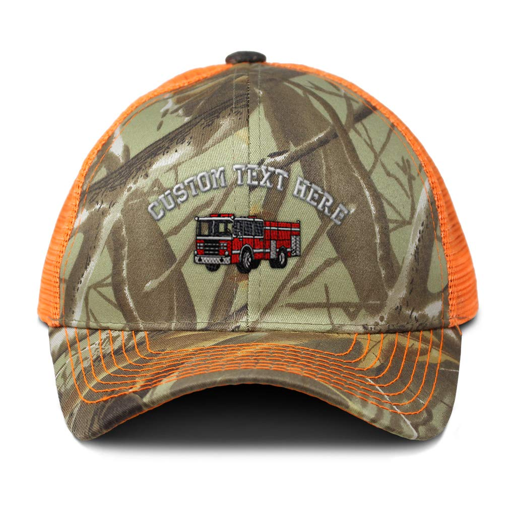 Custom Camo Mesh Trucker Hat Fire Engine Truck A Embroidery Cotton One Size