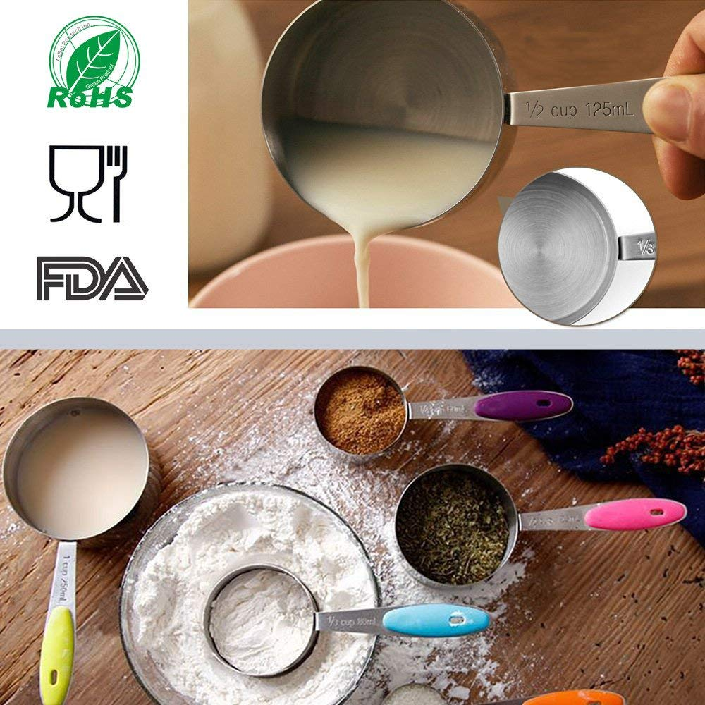 304 Stainless Steel Measuring Cups and Spoons Set of 13-5 Measuring Cups 5 Measuring Spoons 2 O Ringsand and Magnetic Measurement Conversion Chart for Baking and Cooking Measure by KAISHANE