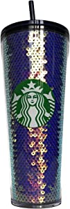 Purple Sequin Glitter Cold Cup Tumbler Holiday 2020 - 24oz.