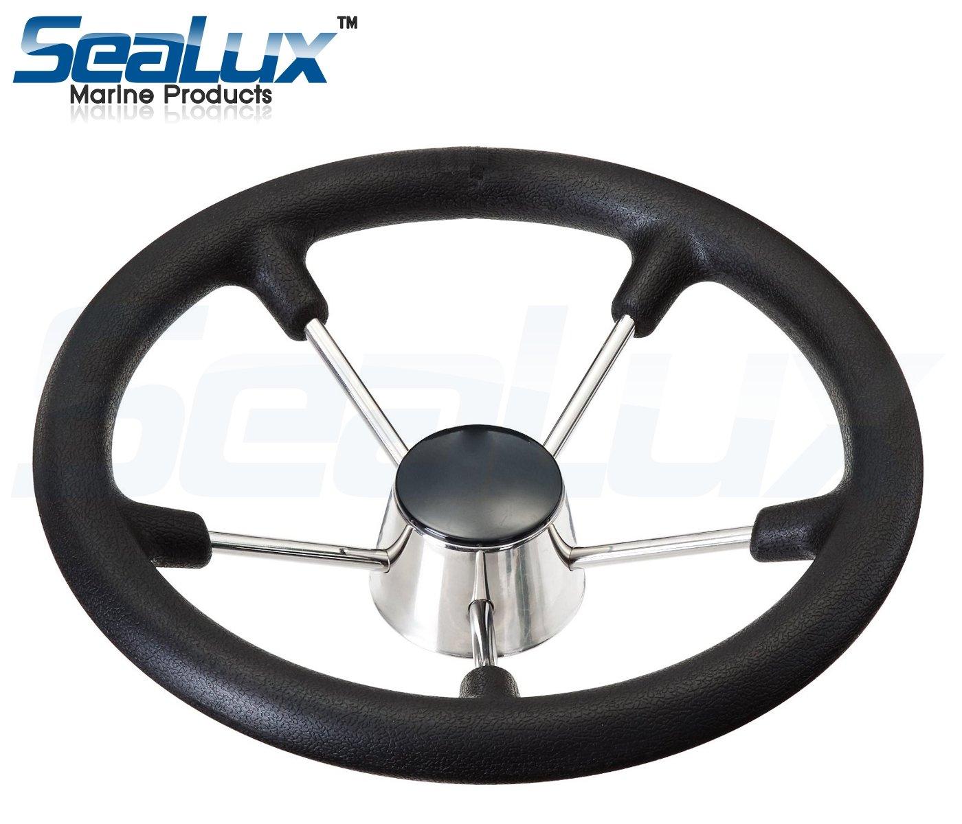 SeaLux 15-1/2'' Stainless Steel 5 Spoke Destroyer Steering Wheel with Foam Grip by SeaLux Marine Products