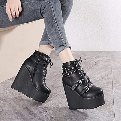 Details about  /Womens Gothic Punk Round Toe Ankle Boots Mid Hidden Heel Bridal Outdoor 34//43 D