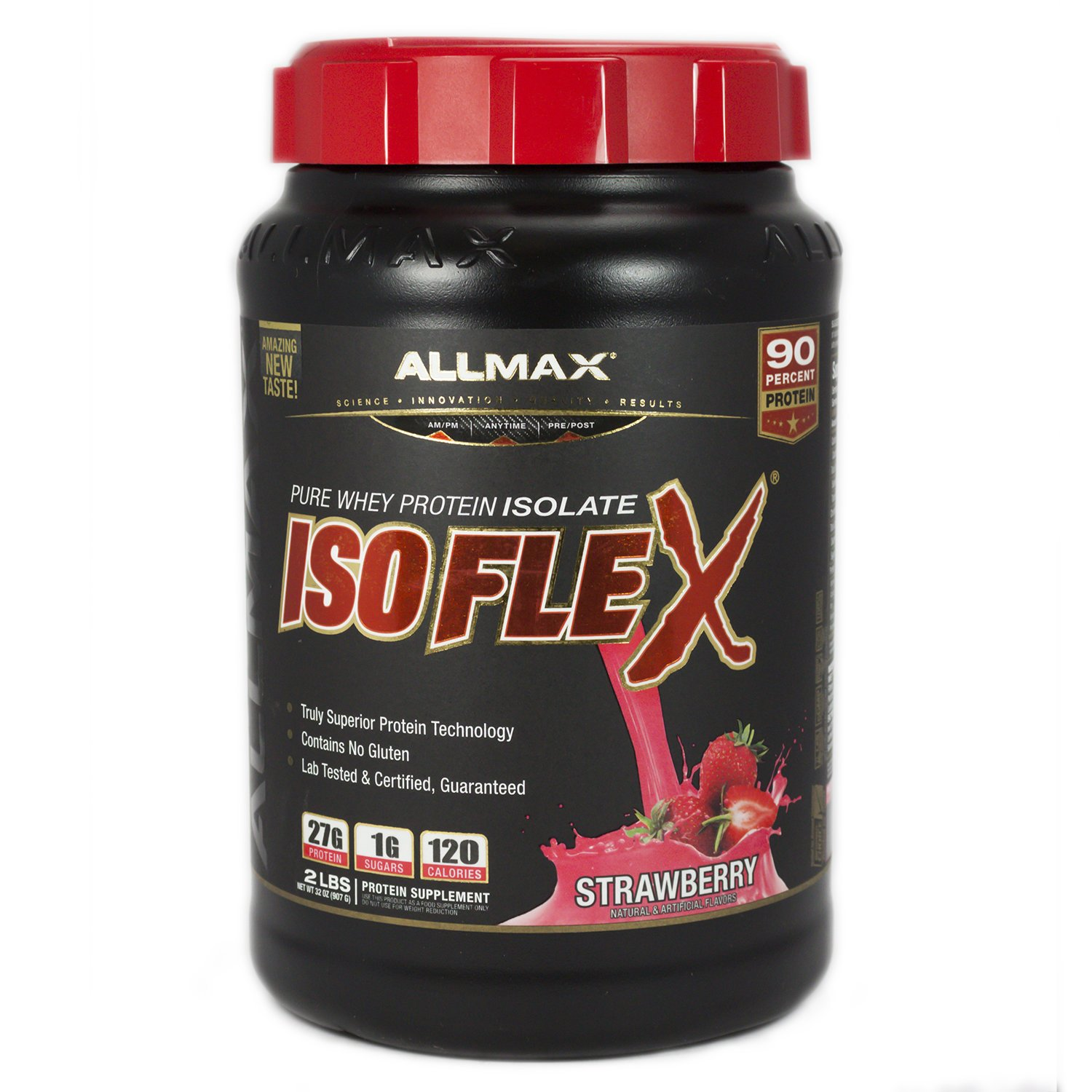 ALLMAX Nutrition Isoflex 100 Ultra-Pure Whey Protein Isolate WPI Ion-Charged Particle Filtration Strawberry 2 lbs 907 g
