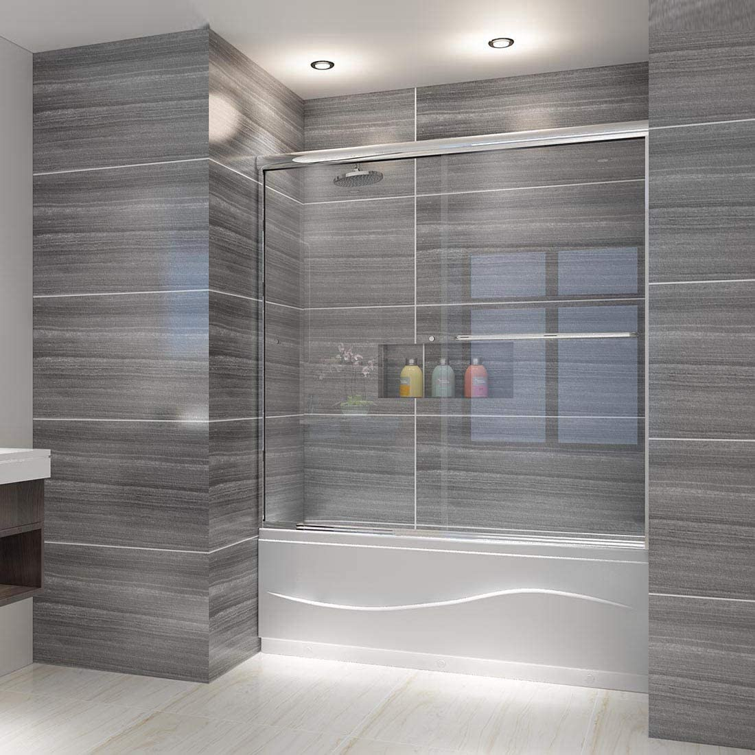 Elegant 58 5 60 In W X 57 3 8 In H Bypass Sliding Bathtub Glass Doors Semi Frameless Shower Door With 1 4 In Clear Tempered Glass Chrome Finish