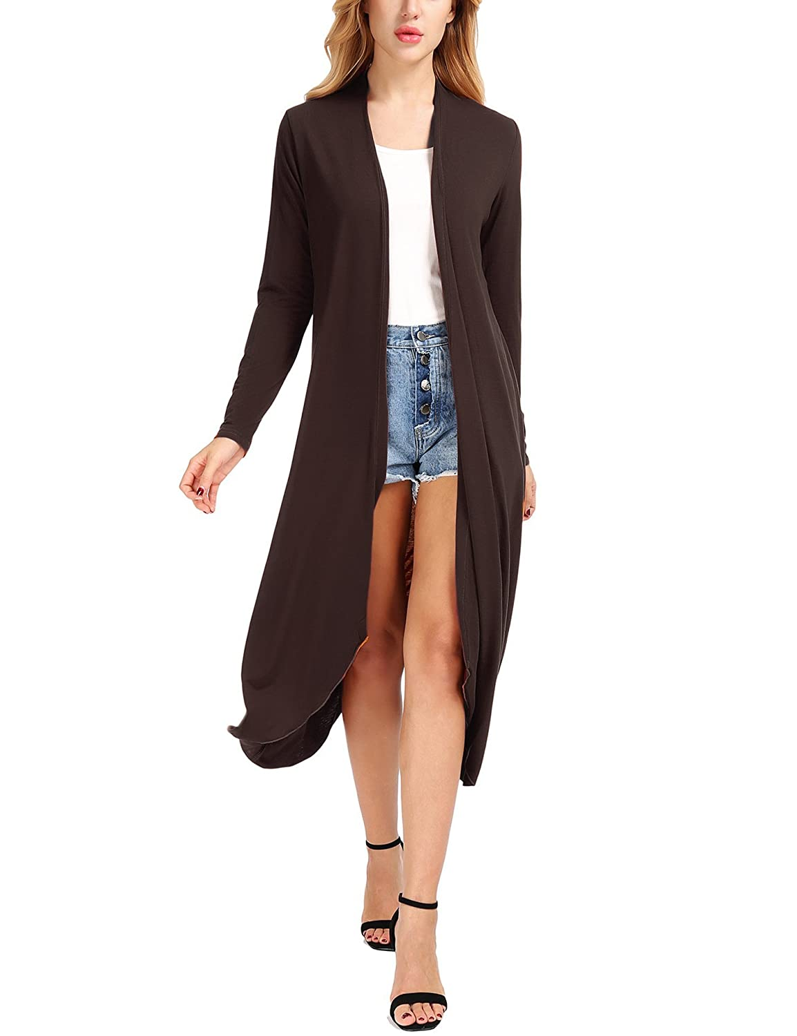 Coffee Uniboutique Women's Casual Open Front Long Sleeve Cardigans Sweater (SXXXL)