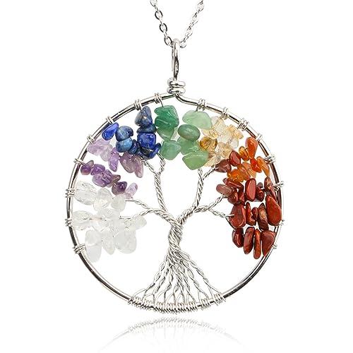 [Sponsored]Merdia Pendant Necklace Tree Of Life Pendant Gemstone Jewelry for Women yXmO8N8Vv