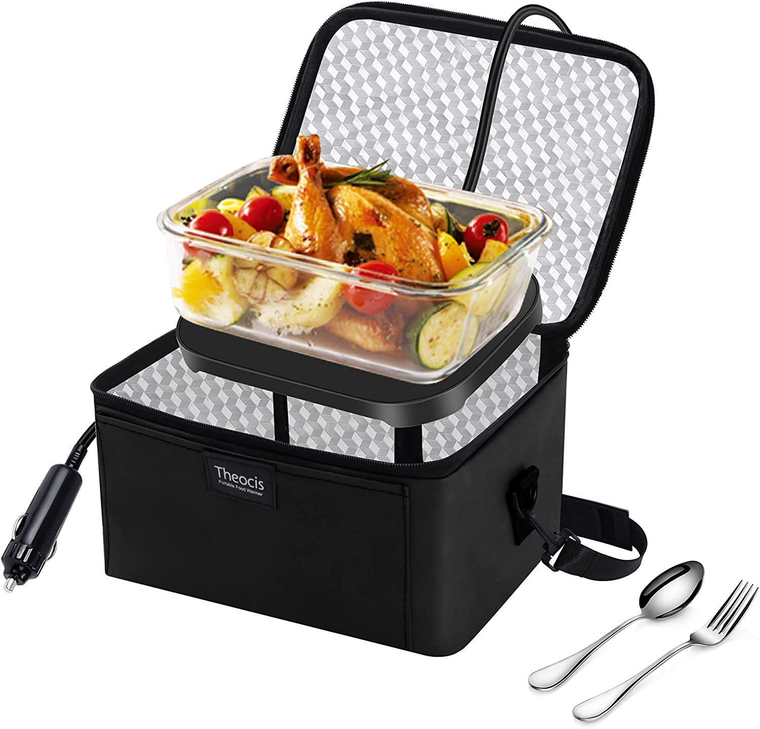 Personal Food Warmer, Car Heating Lunch Box, Portabe Slow Cooker for Meals Reheating & Raw Food Cooking, 12V for Camping, Travel, Picnic, Driver (Black)