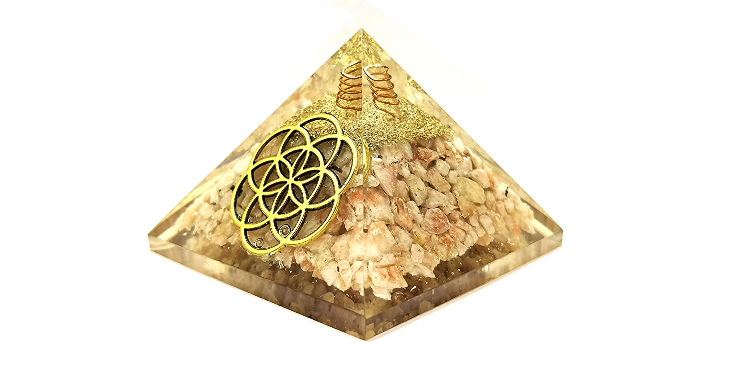 Amazon com: Realcrystalstore Sunstone Flower of Life Orgone