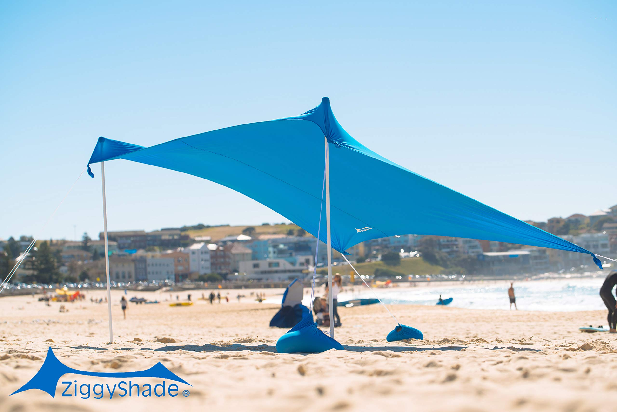 ZiggyShade - Beach Tent - Sun Shade - with Sandbag Anchors - UPF50+ (Sky Blue, Family) by ZiggyShade