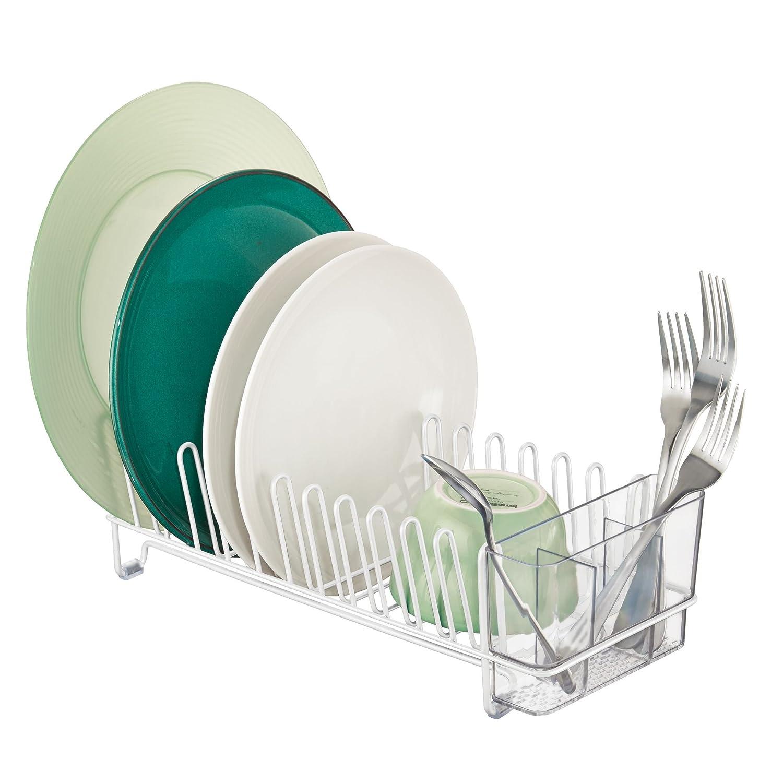 mDesign Scolapiatti da appoggio con vaschetta – Scola piatti per lavello e cucina – Sgocciolatoio in metallo con settore per le posate in plastica – bianco/trasparente MetroDecor