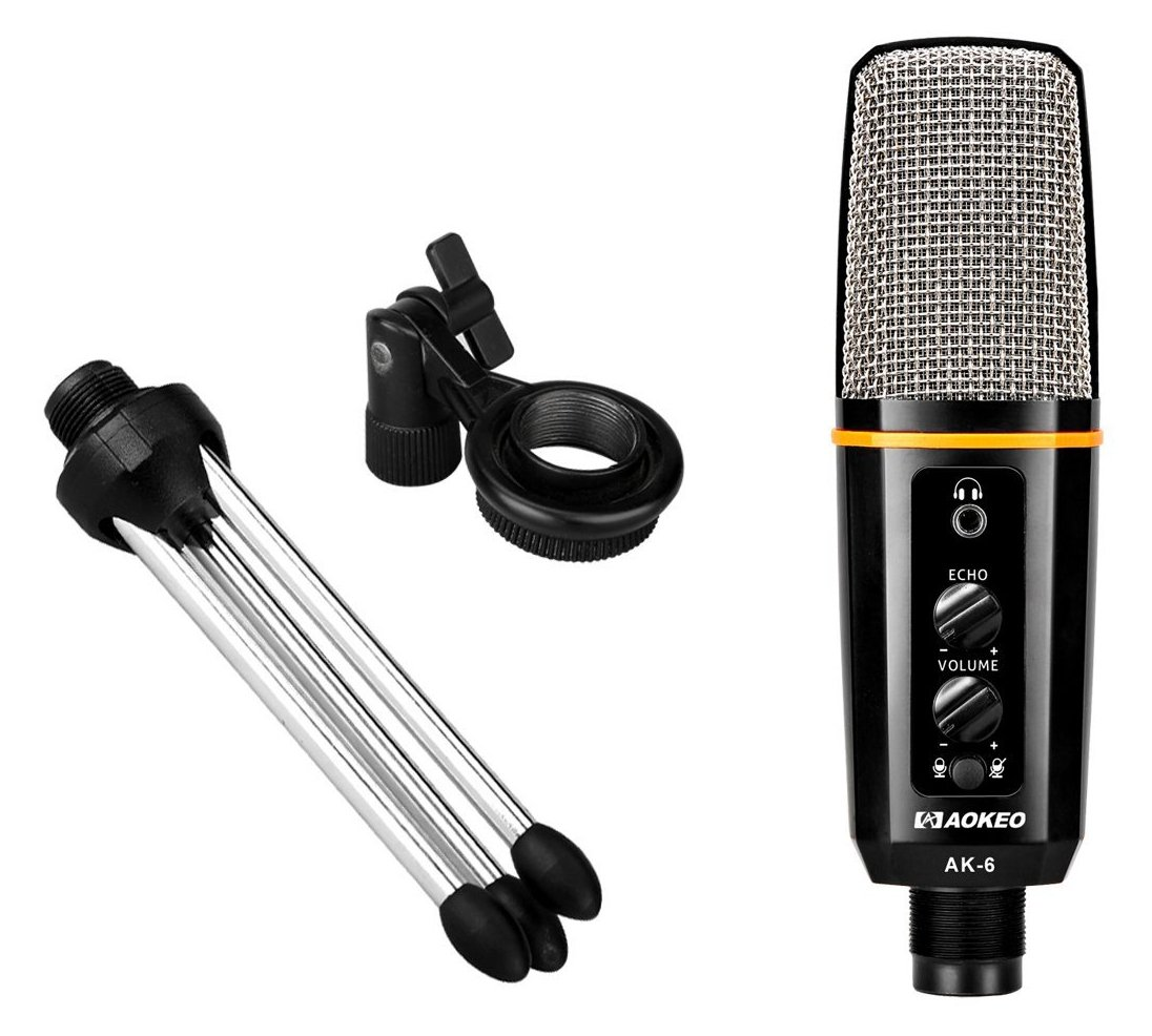 Aokeo's AK-6 Desktop USB Condenser Microphone, Best For Live Podcasting, Broadcasting, Skype, YouTube, Recording, Singing, Streaming, Video Call, Conference, Gaming, Etc. With Mount Stand, Plug & Play by aokeo (Image #5)
