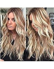 symboat peluca mujeres Blonde larga peluca Frisée bouclée peluca resistente al calor de cabello ondulado sintéticas