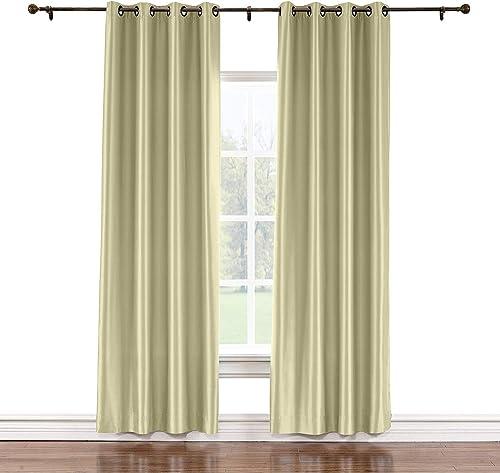 TWOPAGES 150 W x 96 L Grommet Faux Silk Curtains