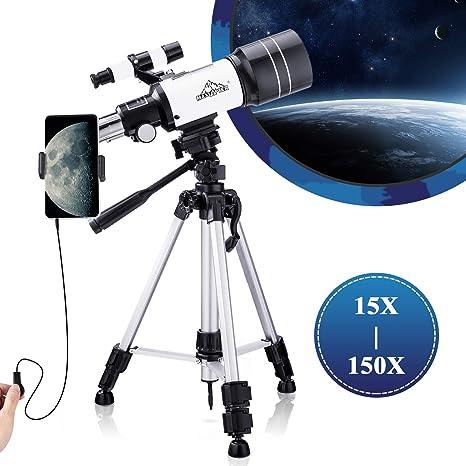 Telescopio 15-150X - Alcance de viaje portátil para principiantes de astronomía, 300/70 HD refractor de visión grande con obturador de cable de cámara y adaptador para smartphone, mochila (trípode duradero multiajustable): Amazon.es: