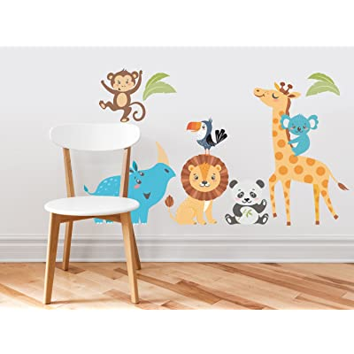 Wild Animal Park Fabric Wall Decals with Panda, Lion, Giraffe, Rhino, Toucan, Koala, and Monkey, Animal Wall Sticker, Non-Toxic, Removable, Reusable, Respositionable: Baby