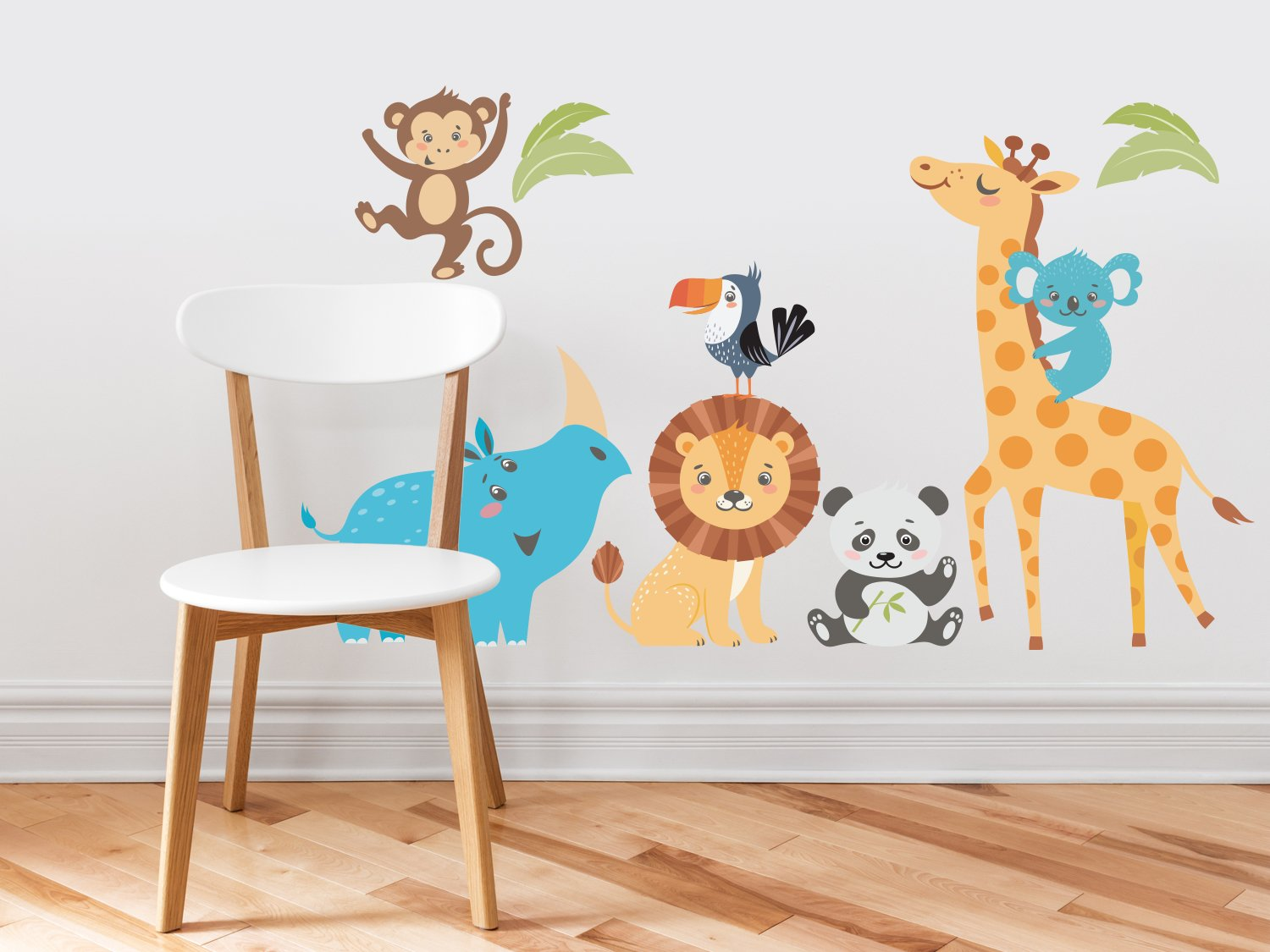 Wild Animal Park Fabric Wall Decals with Panda, Lion, Giraffe, Rhino, Toucan, Koala, and Monkey, Animal Wall Sticker, Non-Toxic, Removable, Reusable, Respositionable