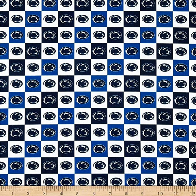 Sykel Enterprises 0313879 Collegiate Pennsylvania State University Fleece Plaid Fabric by The Yard Blue//White