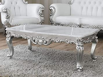 Table Basse de Salon Regina Style Baroque Moderne Feuille Argent ...