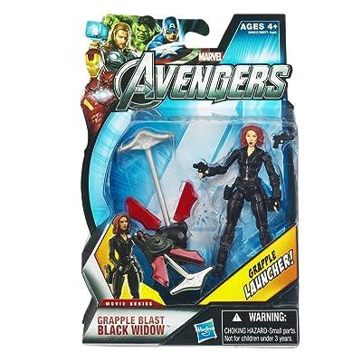 Hasbro Marvel Avengers Movie 4 Inch Action Figure Grapple Blast Black Widow Grapple Launcher!: Toys & Games