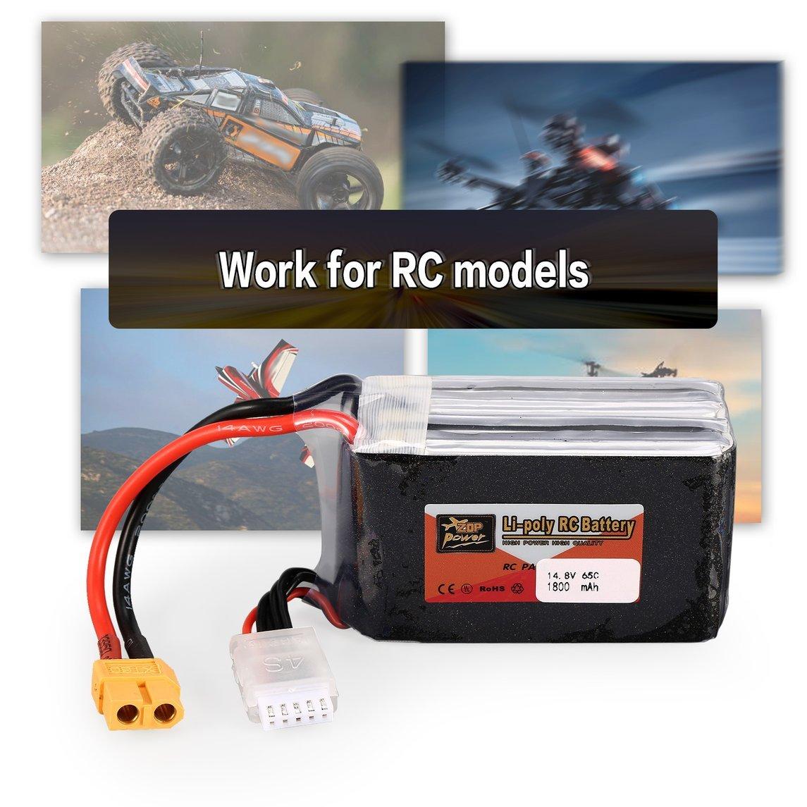 Footprintse ZOP Power 14.8 V 1800 mAh 65C 4S 4S1P Lipo Batería XT60 Enchufe Recargable para RC Racing Drone Helicóptero Multicopter Modelo de Coche